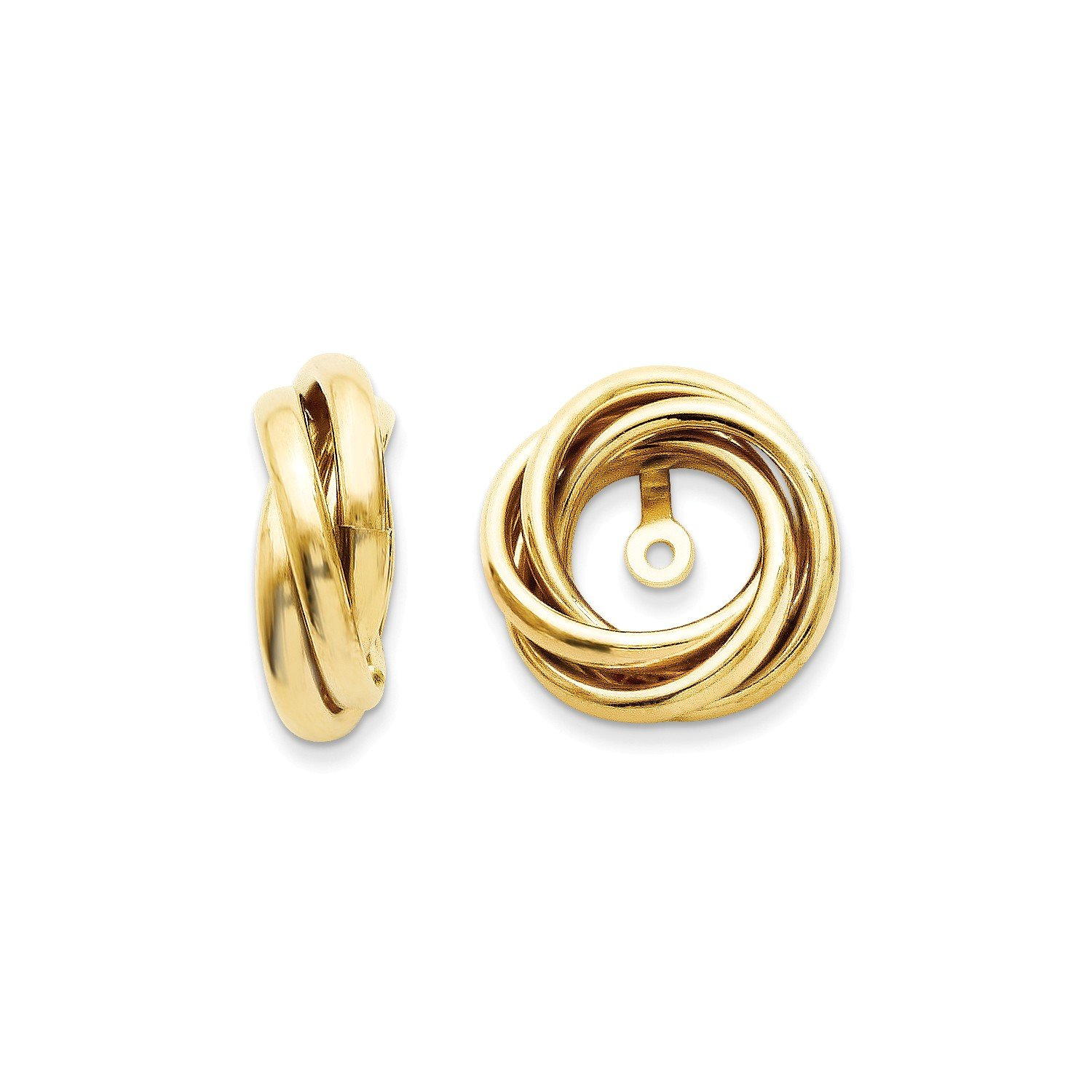 Roy Rose Jewelry 14K Yellow Gold Polished Love Knot Earring Jackets 13mm length by Roy Rose Jewelry