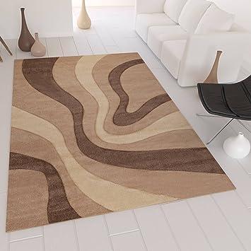 Designer Teppich Modern, Gestreift Wellen Muster, Handgeschnittene  Konturen, Farbe Braun Beige   ÖKO