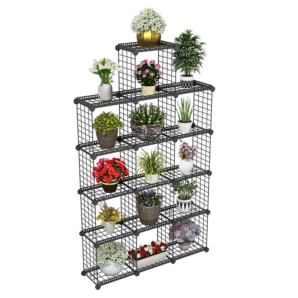 JYYG Portable Plant Stands Custom Shaped Succulents Pot Shelf Standing Baker's Racks for Flowers Metal Shelving Unit for Green House Indoor Outdoor Multifunction Storage Organizer (13(Large) Grids)