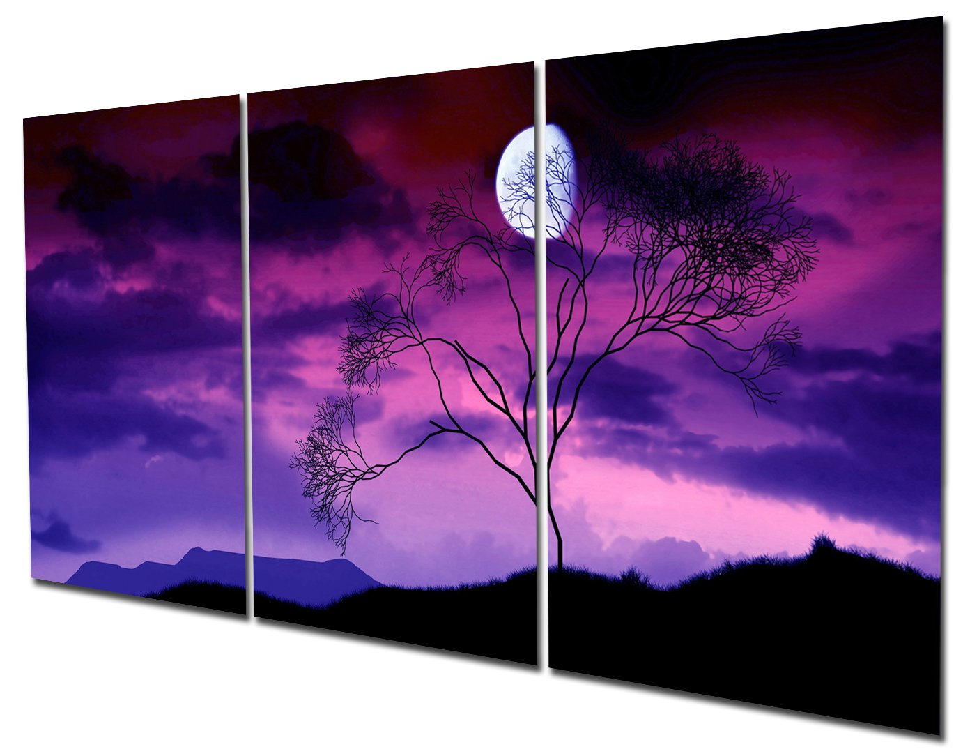 Gardenia Art - Moon on Trees At Night Canvas Wall Art Paintings Purple and Blue Abstract Landscape Artwork for Home and Office Decoration, 16X24'' Per Piece, Unframed by Gardenia Art