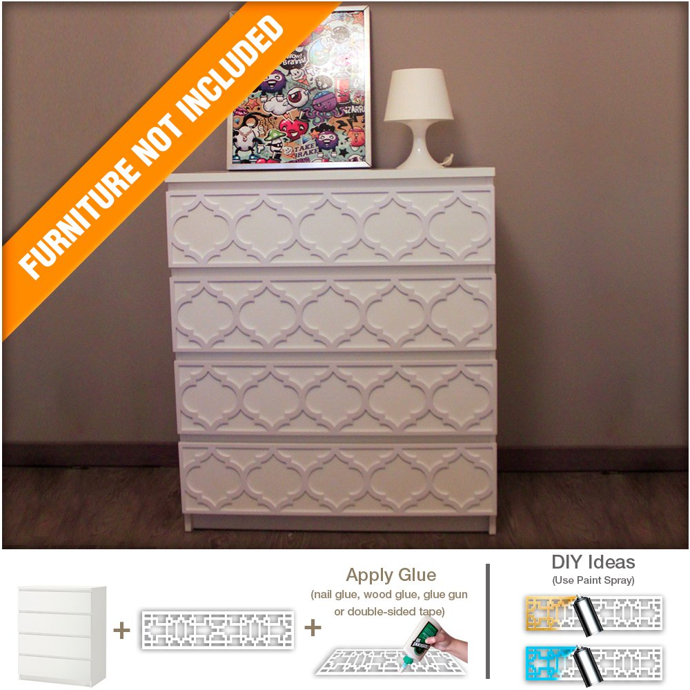 HomeArtDecor - Trellis Modern Furniture Overlay | Handmade Lattice Fretwork | Moroccan Pattern | Color: White | Suitable for Malm IKEA drawers