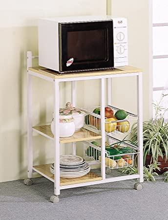 White U0026 Natural Finish Kitchen Microwave Cart W/Casters