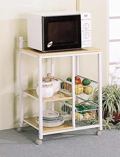amazon com white natural finish kitchen microwave cart w casters