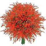 Artificial Lavender Flowers, 8 Bundles Orange Red Fake Flowers UV Resistant No Fade Faux Plastic Bouquet Plants Fall…