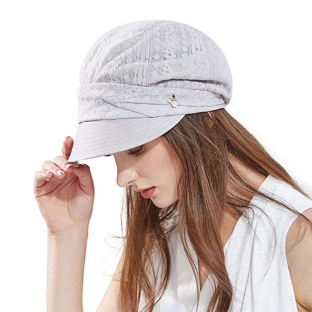 Comhats Ladies Summer Baker Boy Cap Newsboy Hats Visor Beret Sun Hat for Women Casual Cloche Peak Cap Light /& Soft Lined Adjustable 55-58CM Black