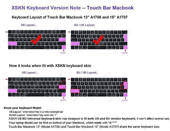 US EU A1706, A1989, A1707, A1990, Version 2016//2017//2018 XSKN Final Cut Pro X Tastatur-Skin Englisch Shortcut Design Silikonh/ülle Schutzfolie f/ür Multi Touch Bar MacBook Pro Netzhaut 13//15 Zoll