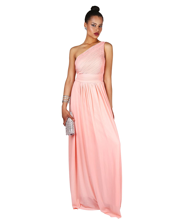 KRISP Vestido Mujer Largo Rosa Fiesta Noche Talla Grande Boda Hombro ...