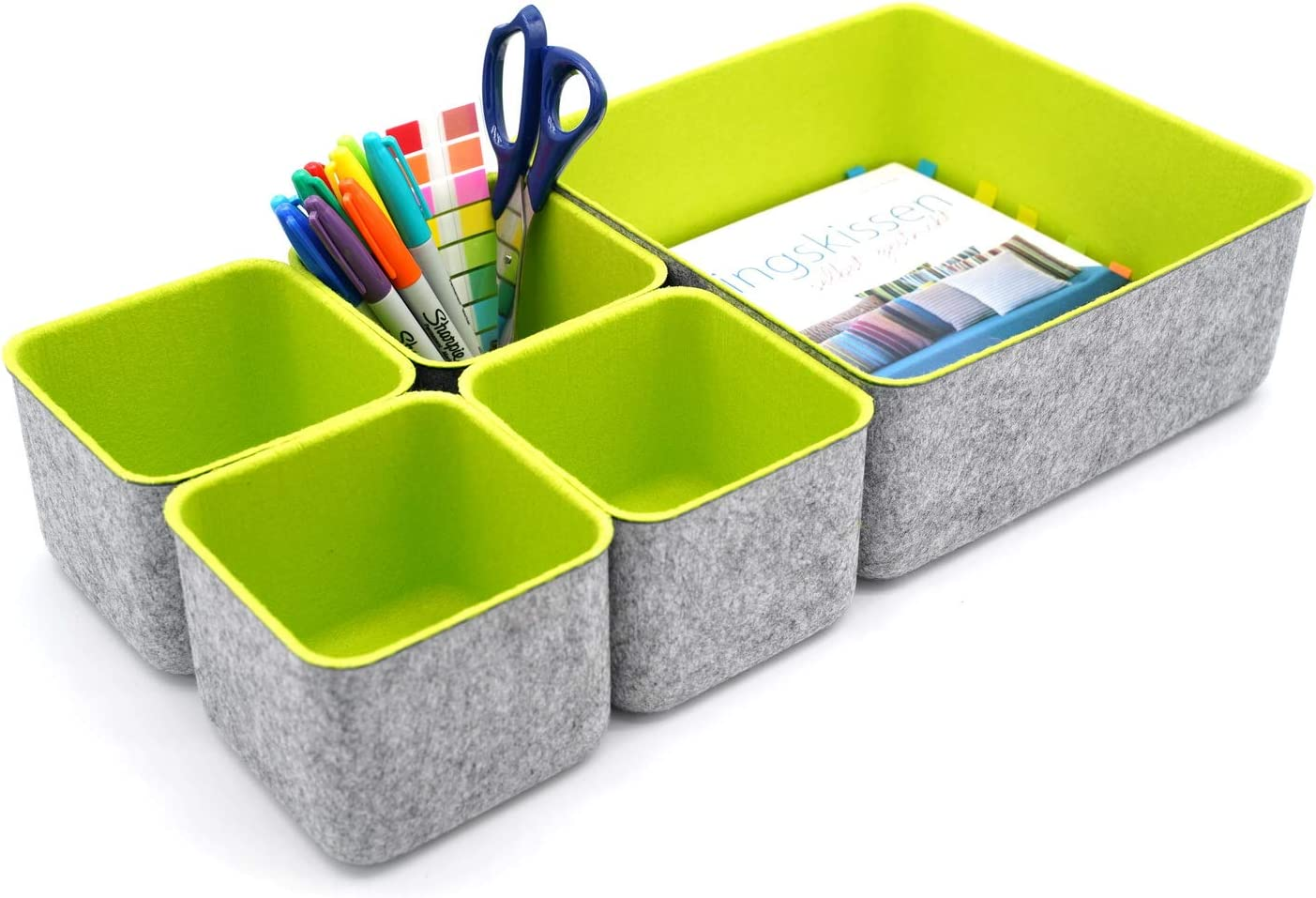 WELAXY designed Felt office storage bins drawer organizers dividers boxes shelf bin, Pack of 5 (Green)