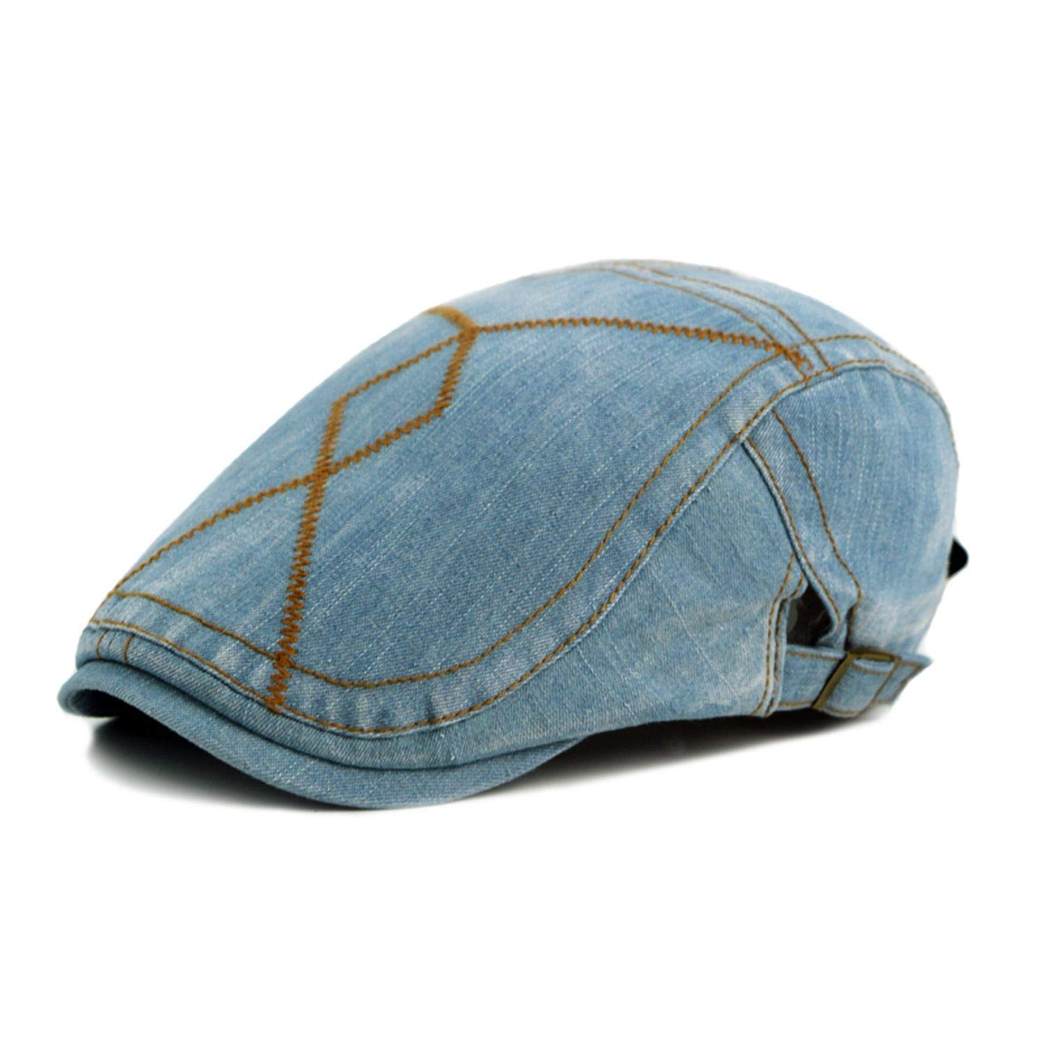 Hulione Fashion Spring Summer Jeans Hats for Men Casual Unisex Denim Beret Caps Outdoors Flat Cap for Cowboy