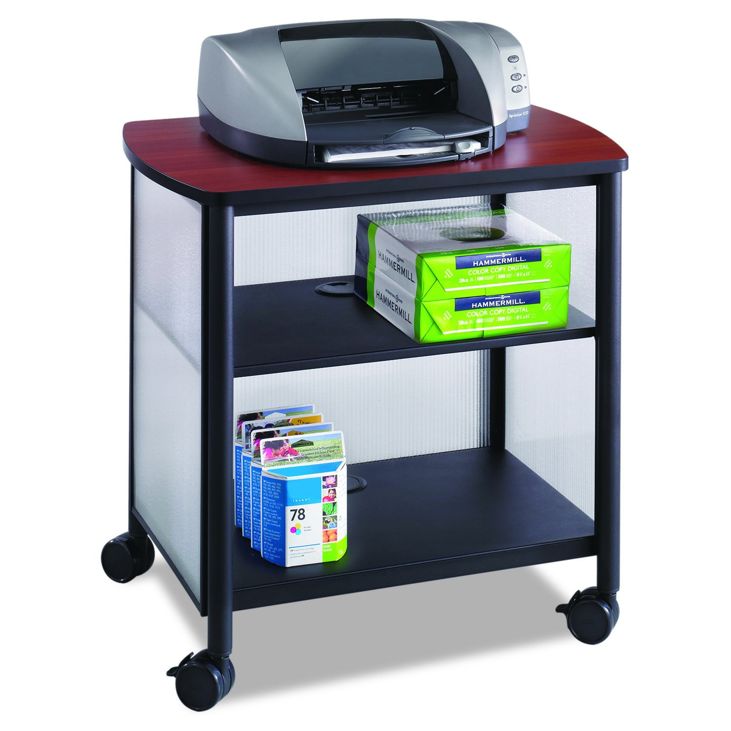 Safco Products Impromptu Mobile Print Stand 1857BL, Cherry Top/Black Frame, 200 lbs. Capacity, Contemporary Design, Swivel Wheels by Safco Products