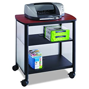 Safco Products Impromptu Mobile Print Stand 1857BL, Cherry Top/Black Frame, 200 lbs. Capacity, Contemporary Design, Swivel Wheels