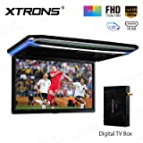 XTRONS® 17.3 Inch 16:9 Ultra-thin FHD Digital TFT Screen 1080P Video Car Overhead Player Roof Mounted Monitor HDMI Port 19201080 Full High Definition TV Box Included(CM173HD+FV014)