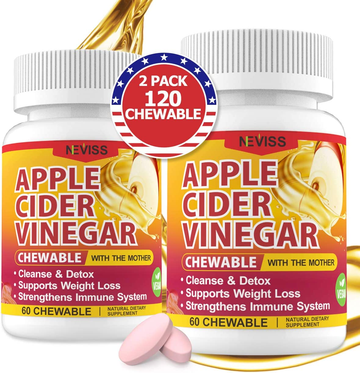 (2 Pack)Organic Apple Cider Vinegar Pills with The Mother for Weight Loss, Detox & Cleanse, ACV Pills for Women, Vegan Apple Cider Vinegar Tablets 1000mg Alternative to ACV Gummies, Capsules-120 Tabs