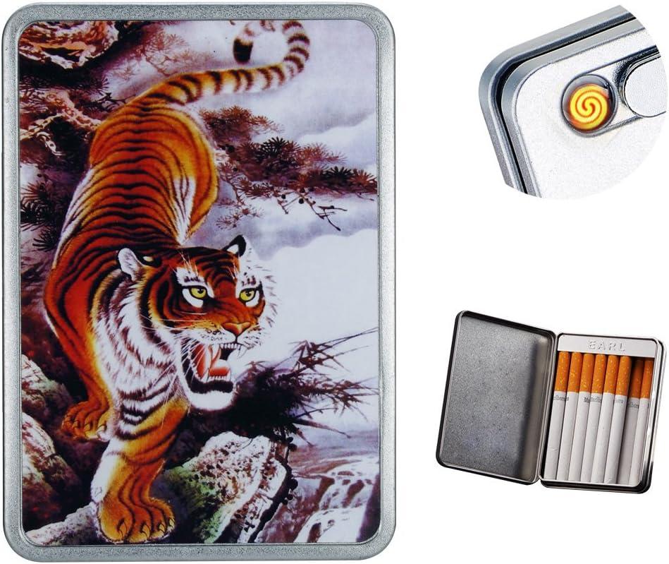 Pantheraa USB Encendedor de Cigarrillos Caso Caja de Cigarrillos electrónicos sin Llama batería Resistente al Viento encendedores Puede Hold 16Cigarrillos Humo