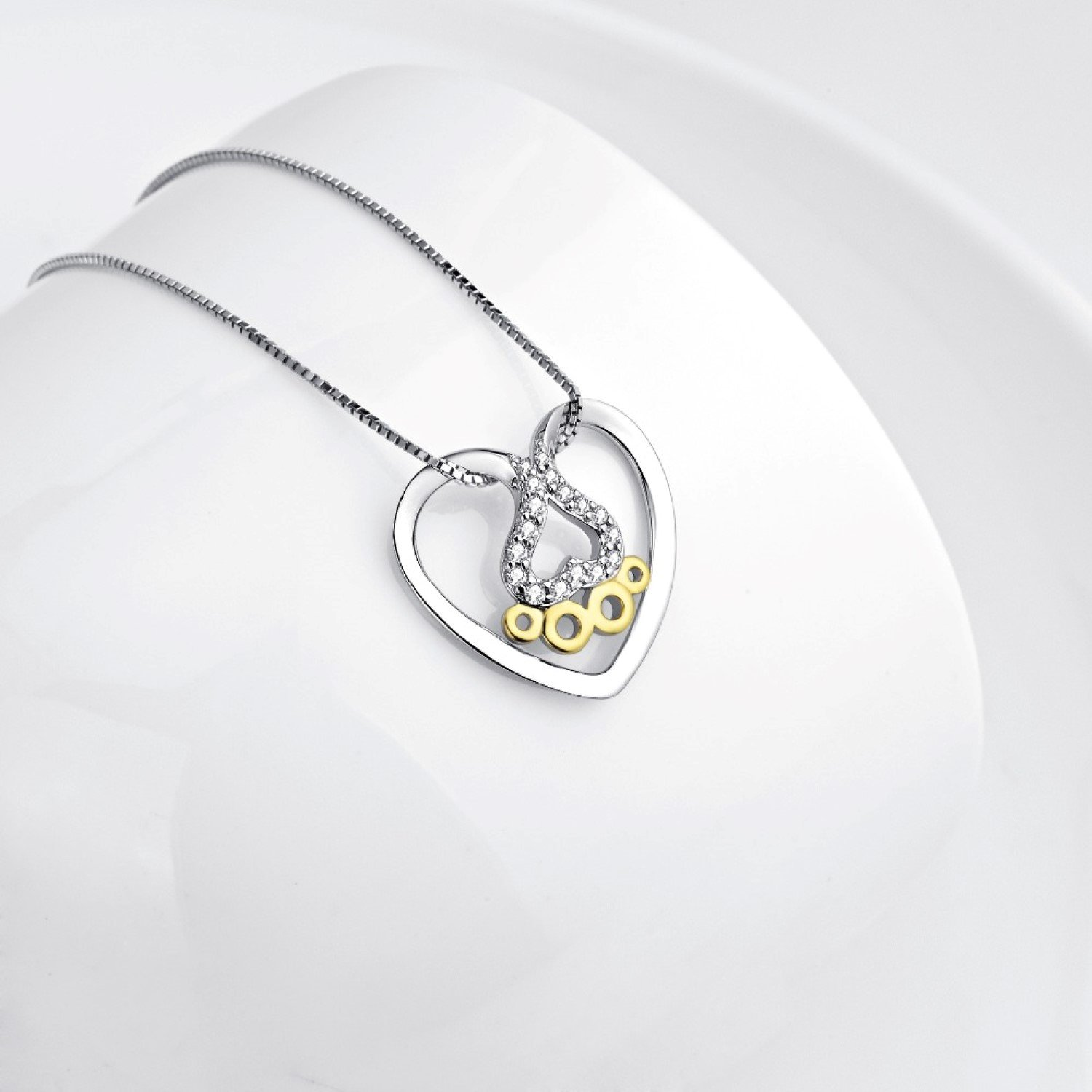 CS-DB Heart Crystal CZ Gold Color Dog Paw Pendants Silver Necklaces