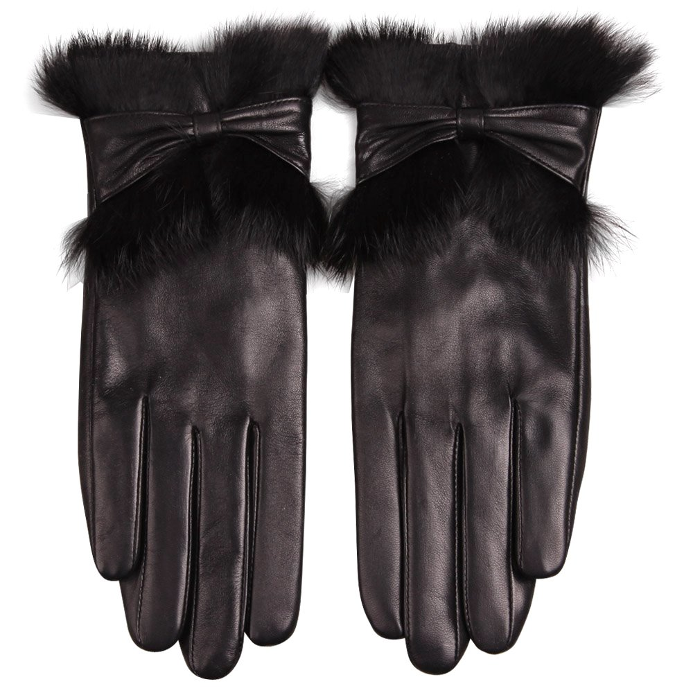 Women's Luxury Winter Warm Genuine Soft Nappa Leather Dress Gloves with 100% Rabbit Fur Cuff (M, Black (Style D ))