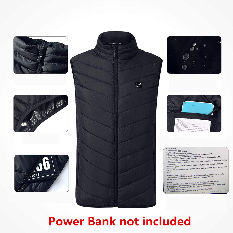 Cocobla 2018 Upgrade Electric Heated Vest Lightweight USB Rechagable Heating Warm Waistcoat Down Gilet
