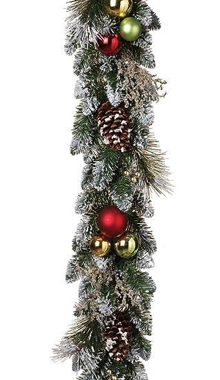 Christmas Pine Garland.Amazon Com 6 Foot Flocked Christmas Pine Garland Pine Cones