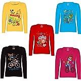Kiddeo Kids girls full sleeve t shirts(pack of 5)