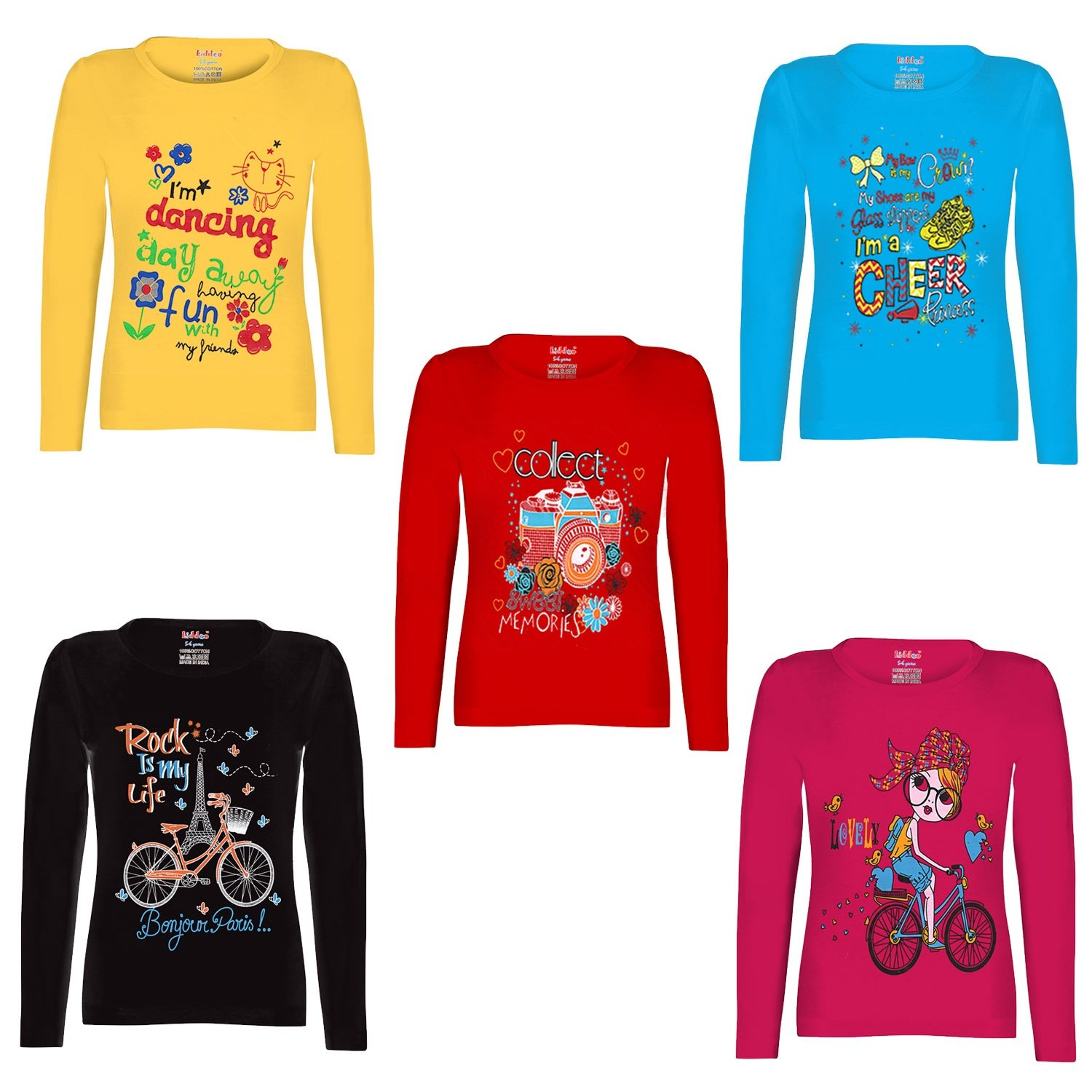 9925a1cead69 Kiddeo Girl s Cotton Full Sleeve T-Shirts - Pack of 5  Amazon.in  Clothing    Accessories