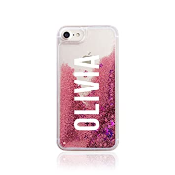 classic fit f0450 93561 Iphone 6 & 6s Tirita Personalised REAL LIQUID GLITTER Hard Case Bling Rose  Gold Pink Handwriting Style Fancy Cursive Signature Custom Initials Name