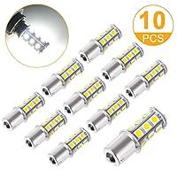 Stripsun Super Bright DC 12V 1156 LED Light Bulb, BA15S 1003 1141 5630 7506 18-SMD Car Interior Light Lamp Bulb for Brake Signal Tail Backup Reverse Lights, RV Camper Light, White (Pack of 10)