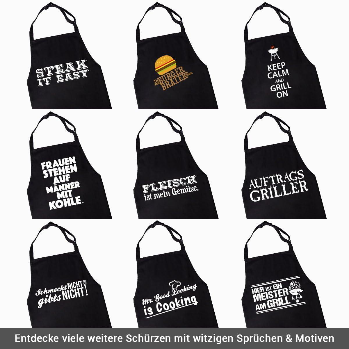 WANDKINGS Sch/ürze Mrs Good Looking is Cooking Kochsch/ürze K/üchensch/ürze Grillsch/ürze Latzsch/ürze mit Verstellbarem Nackenband