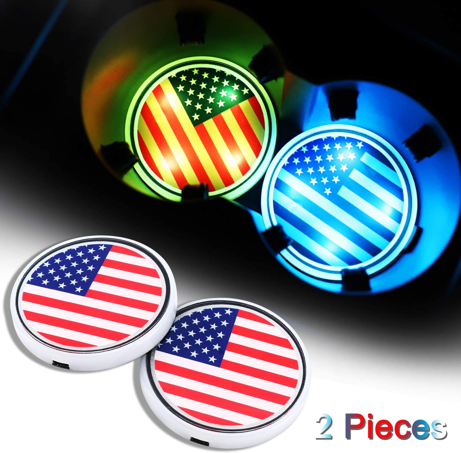 American Flag Car Coaster with 7 Colors Changing USB Charging Mat Luminescent Cup Pad Interior Atmosphere Lamp Decoration Light 2PCS Accarparts LED Car Cup Holder Lights