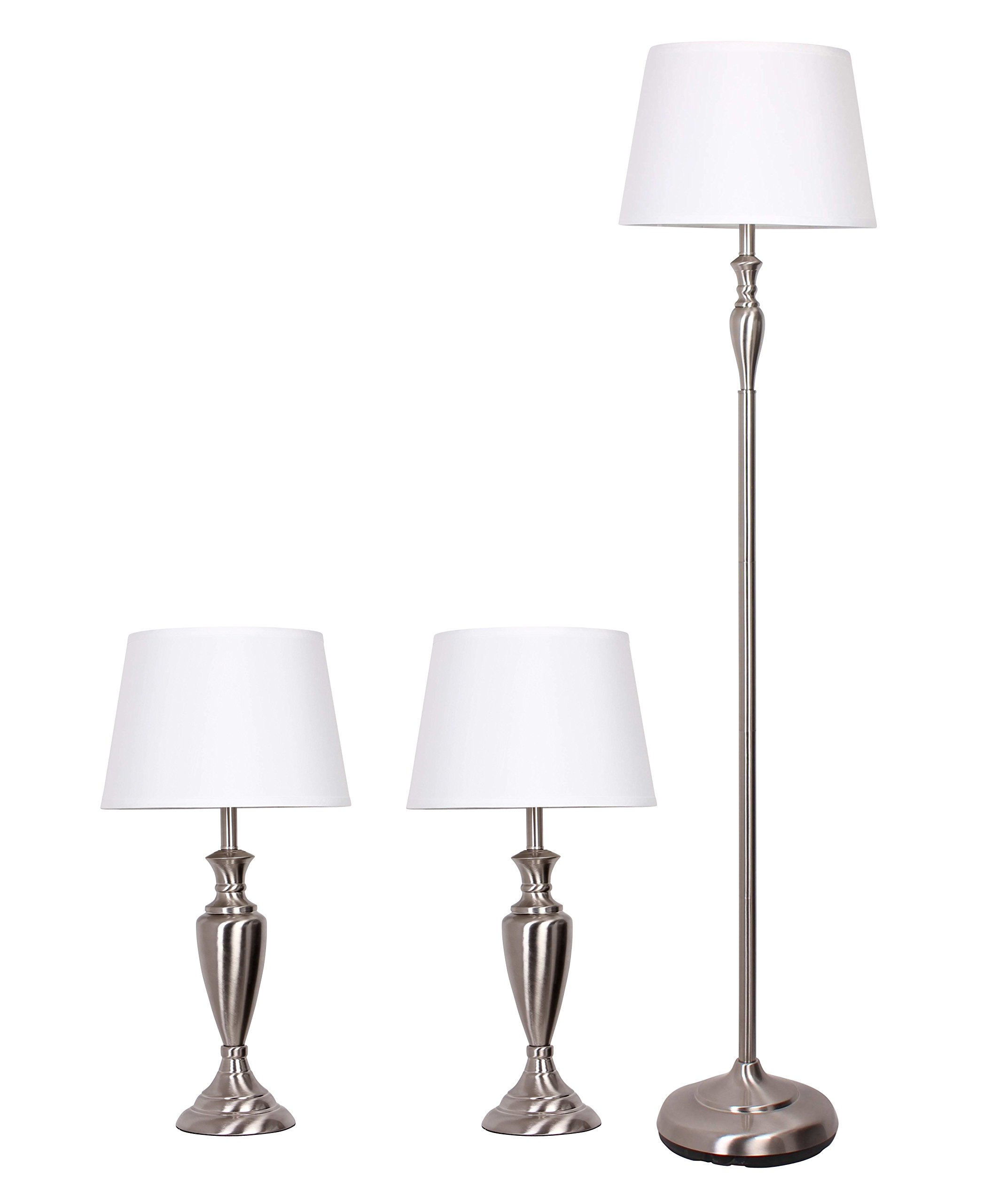 Catalina 18078-001 Combo 3-Piece Lamp Set with Brushed Nickel Finish and White Modified Drum Shades, by Catalina Lighting