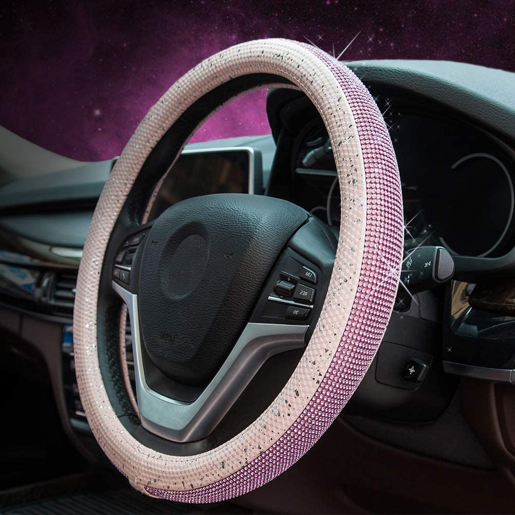 Girl 14.5-15 inches ZATOOTO Rhinestone Steering Wheel Covers for Women Steering Wheel Cover Bling
