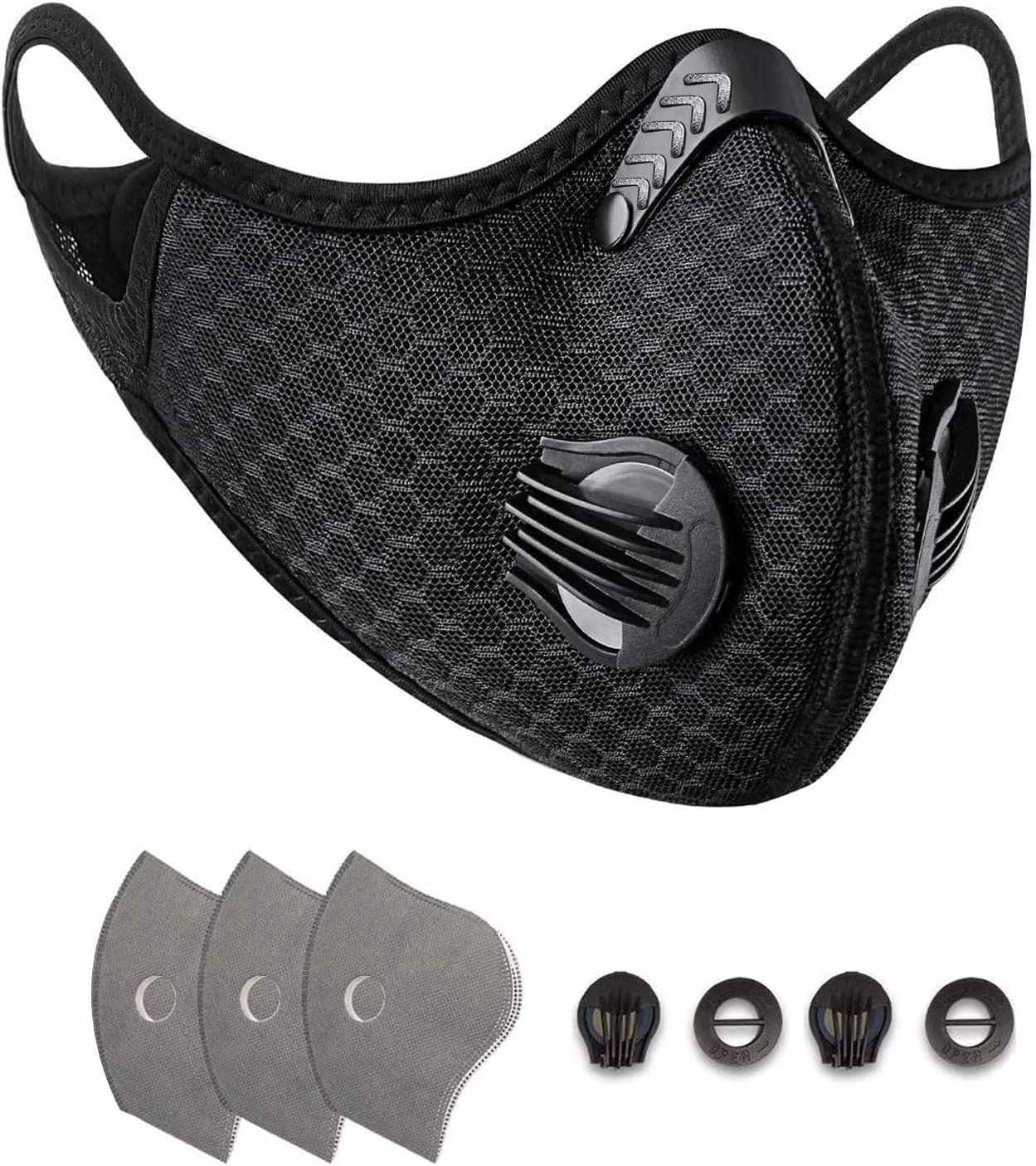Anti-Pollution Sports Mask with 3 Activated Carbon Filters and 2 Valves