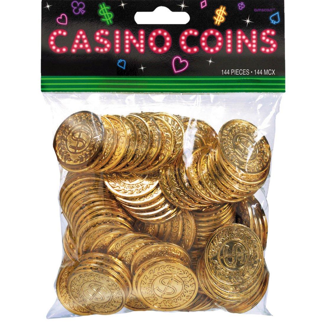 Amakando Pièces pour Machine à sous - doré | 144 Jetons de Casino | Décoration de fête Poker | l'argent du Jeu
