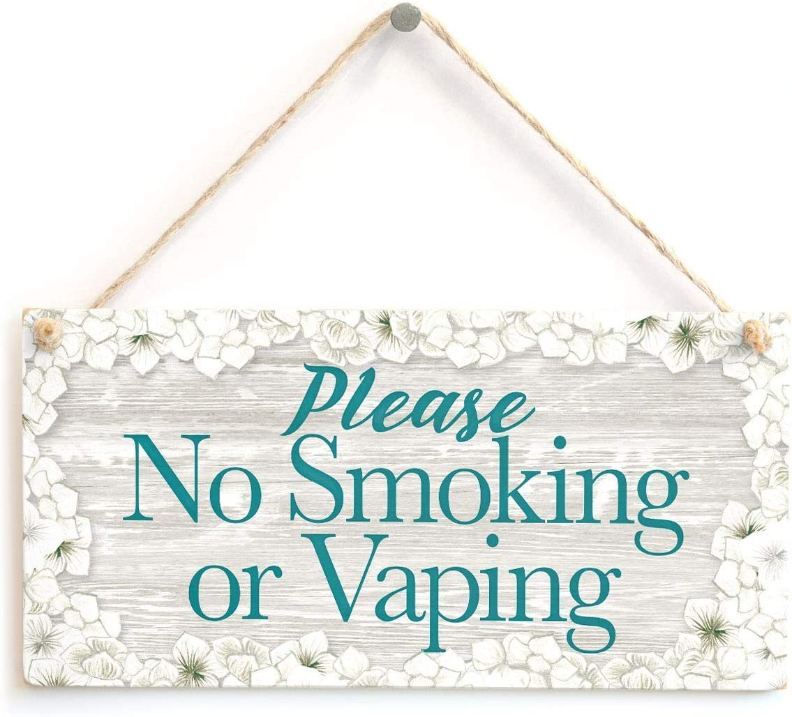 in the Ivy Please No Smoking Or Vaping Informational Home Decor Accessory Funny Wooden Sign Home Decor Wall Hanging Plaque