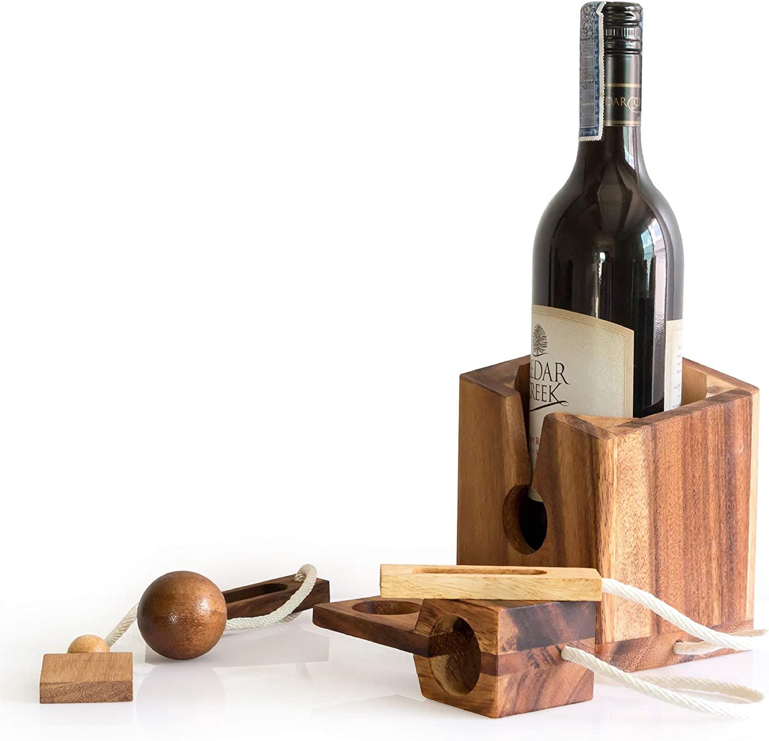 Wine Gift Adult Comes with Bottle Lock Challenges Brain Teaser and Designs of Classic Unique Wood to Be A Puzzle Game Gift to People Lovers and Couples Drinkers on Party
