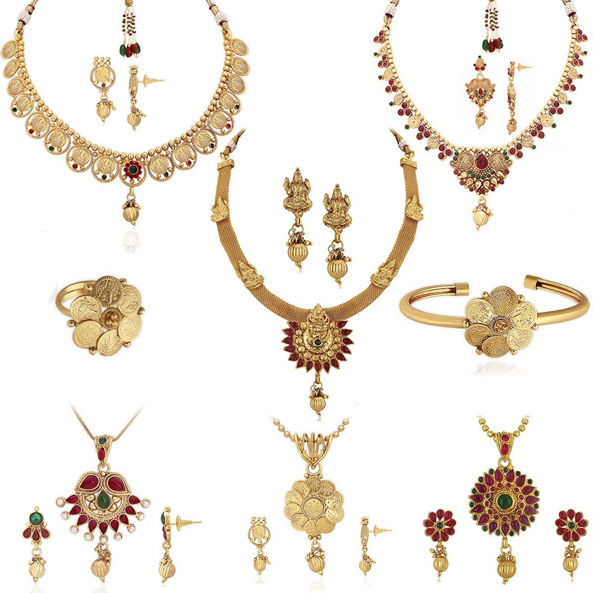 57d69bfe8ba51 Spargz Brass Gold Plated Combo Jewellery Set For Women (3 Necklace Set, 3  Pendant Set, 1 Kada, 1 Ring)