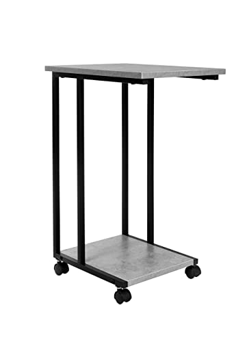JJS Side End C Table for Sofa, Living Room Couch Table Snack Table That Slide Under for Small Spaces, Cement Black