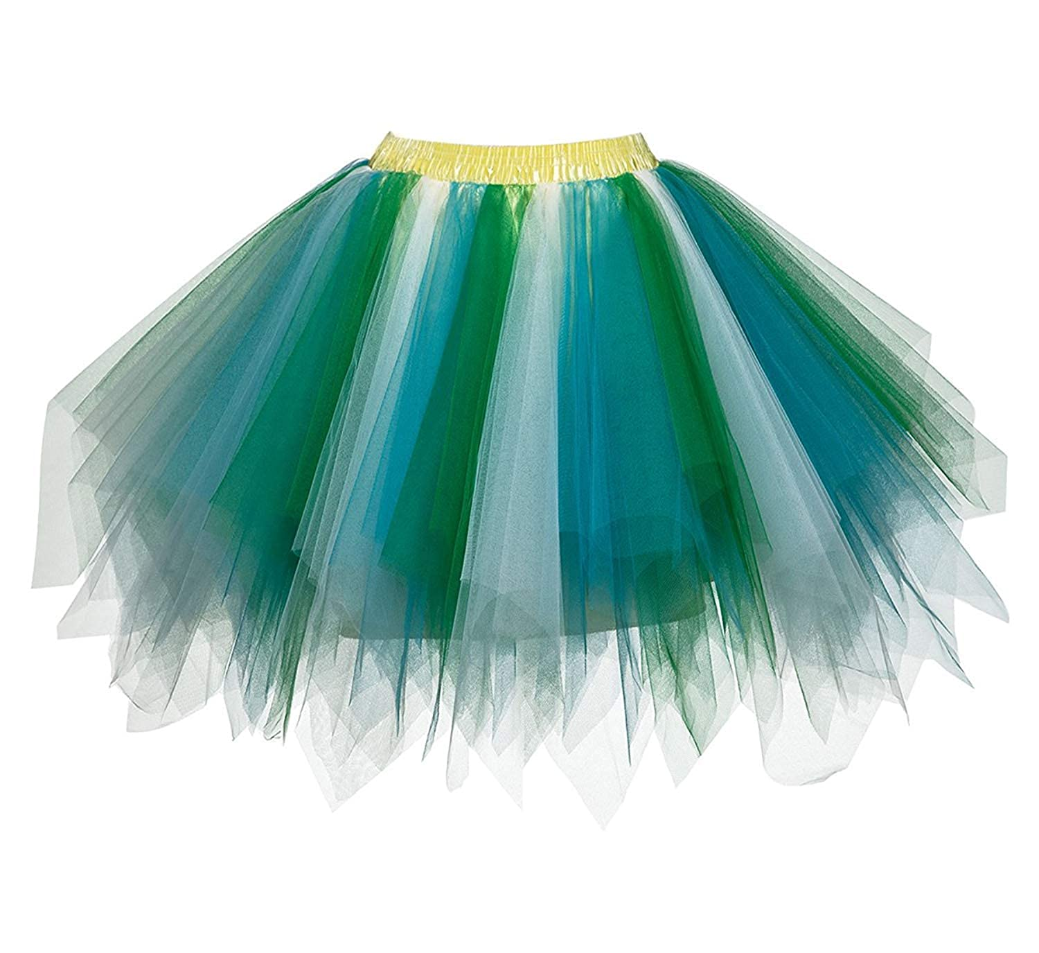 Womens Rainbow Puffy Tutu Layered Tulle Petticoat Skirt for Party