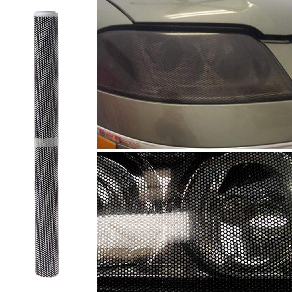 CADANIA 30x106cm Tinting Perforated Mesh Film Fly-Eye MOT Legal Tint Car Front Rear Headlight Light Bulb
