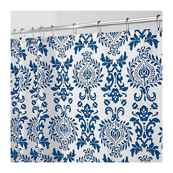 """iDesign Damask Fabric Shower Curtain for Master, Guest, Kids', College Dorm Bathroom, 72"""" x 72"""" - Navy Blue and White - FABRIC SHOWER CURTAIN: High-quality wrinkle resistant 100% polyester navy blue and white fabric gives your shower stall a sleek look. Great for master bathroom, guest bathroom, child's bathroom, or basement bathroom STYLISH: Navy blue and white color scheme and decorative French-inspired print looks great with any decor RUST-RESISTANT METAL GROMMETS: 12 rust-resistant metal grommets and a reinforced top header are suitable for S hooks, shower rings, and other shower curtain hooks for easy hanging - shower-curtains, bathroom-linens, bathroom - 71k5nMbwW4L. SS570  -"""
