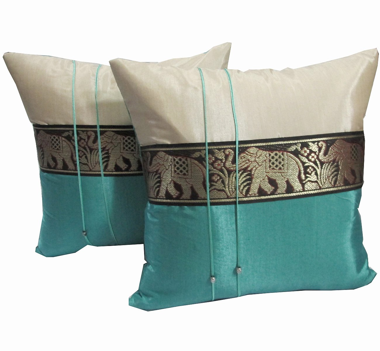 ''HelloThailand'' (DOUBLE CREAM AND TURQUOISE) 2 BEAUTIFUL & COOL BIG ELEPHANTS THROW CUSHION COVER/PILLOW CASE HANDMADE BY THAI SILK FOR DECORATIVE SOFA, CAR AND LIVING ROOM SIZE 16 X 16 INCHES