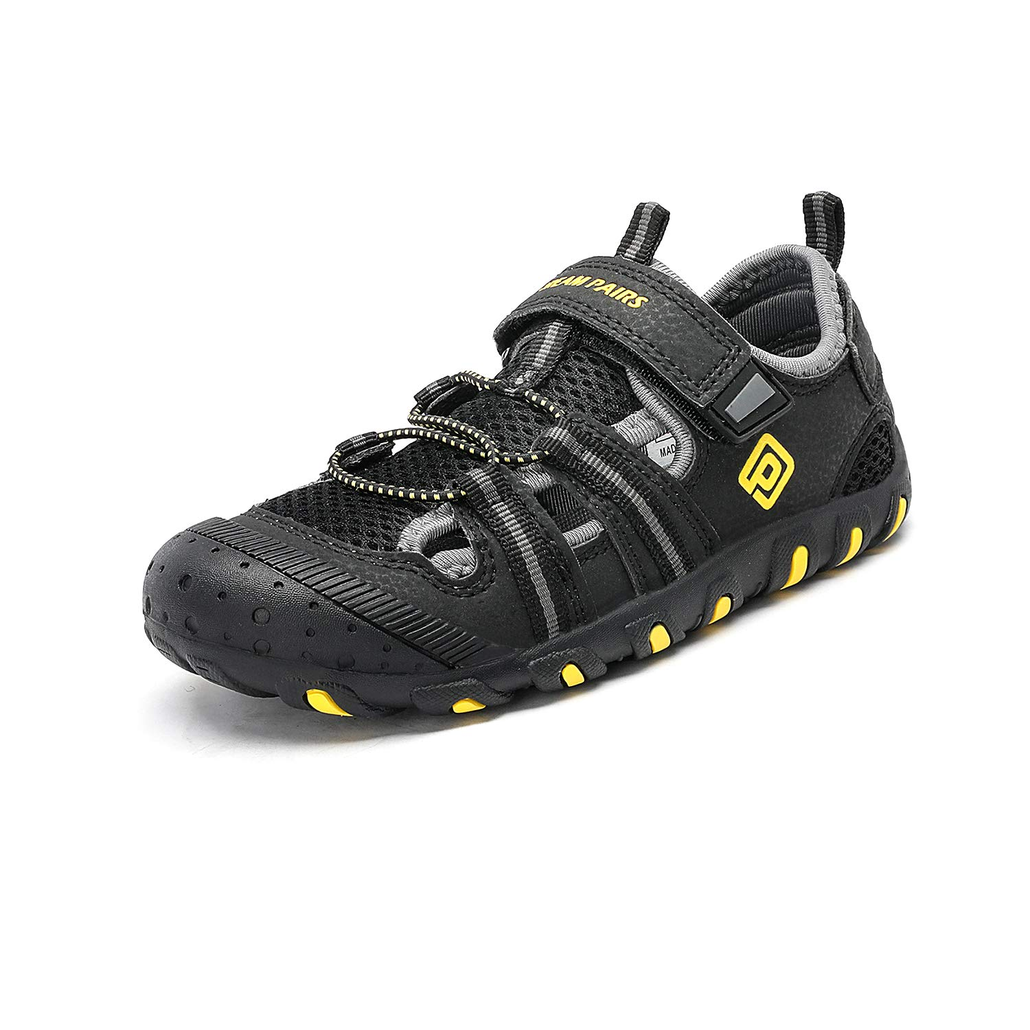 DREAM PAIRS Boys Girls 181106K Black Grey Yellow Closed-Toe Outdoor Summer Sport Sandals Size 6 M US Big Kid