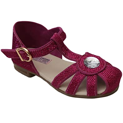 24f558e271ce D chica Fancy Synthetic Fabric Style in Fuchsia Sandals for Girls - (Size