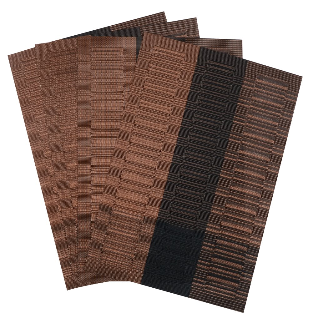 Christmas Tablescape Décor - Brown & black rectangle eco-friendly bamboo PVC placemats - Set of 4