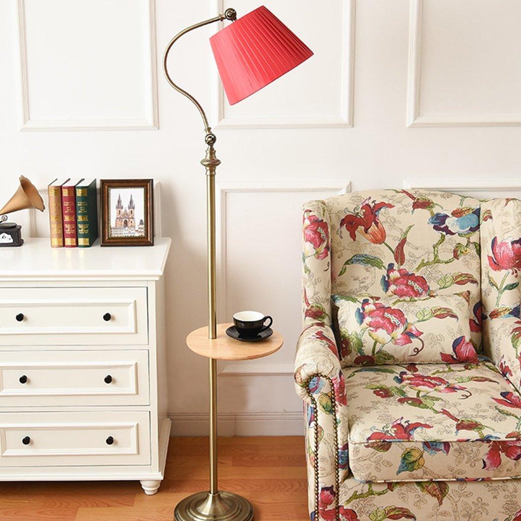 FORWIN Stehleuchte- Europäische Retro Stehlampe Wohnzimmer Schlafzimmer vertikale Tischlampe Innenbeleuchtung (Farbe : Red)