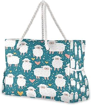 Hunihuni - Bolsa de playa con asas de cuerda de algodón, cremallera superior, dos bolsillos exteriores: Amazon.es: Equipaje