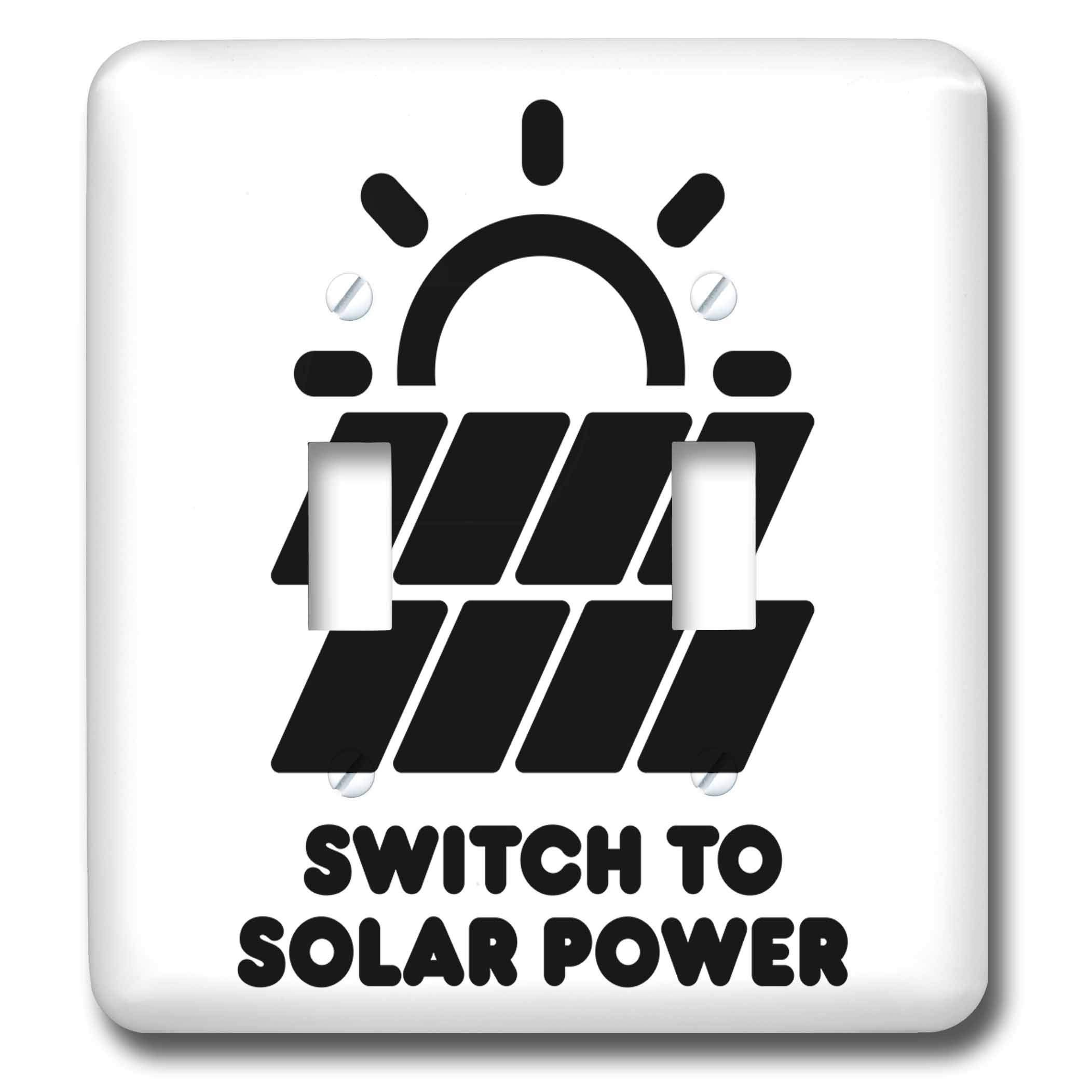 3dRose Carsten Reisinger - Illustrations - Switch to solar power electric power from the sun alternative energy - Light Switch Covers - double toggle switch (lsp_294721_2)