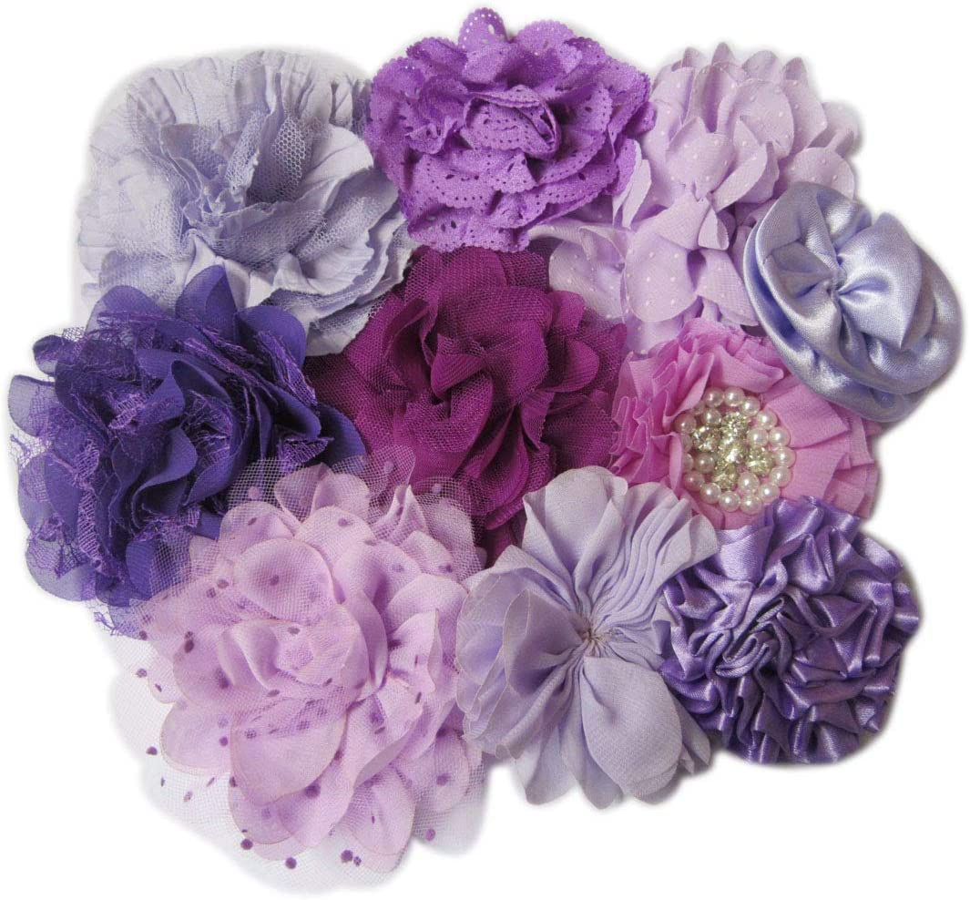 YYCRAFT 20 Pcs Chiffon Flower Rhinestone Pearl for Dress Sewing,DIY Hair Bows Craft and Party Decoration Blue,2