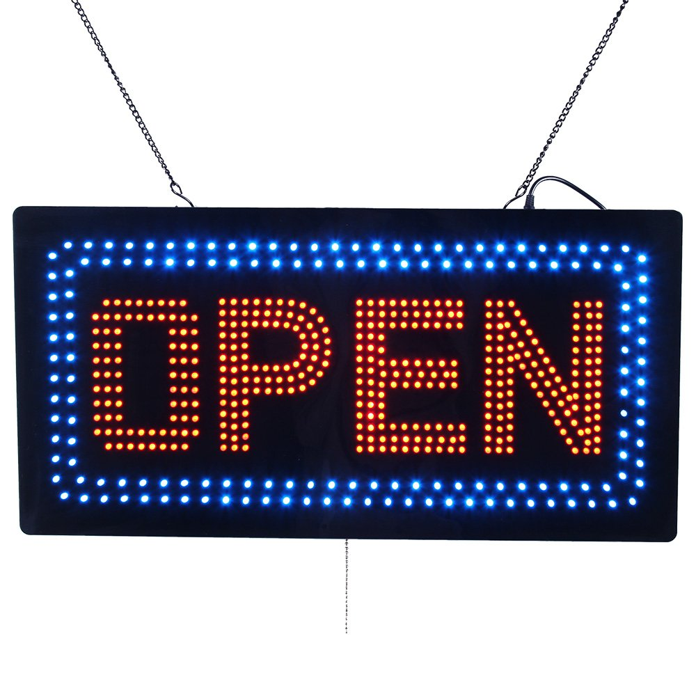 LED Open Light Sign Super Bright Electric Advertising Display Board for Message Business Shop Store Window Bedroom Barber Shop Beauty Hair Salon Nails Spa Massage 24 x 12 inches by HIDLY (Image #1)