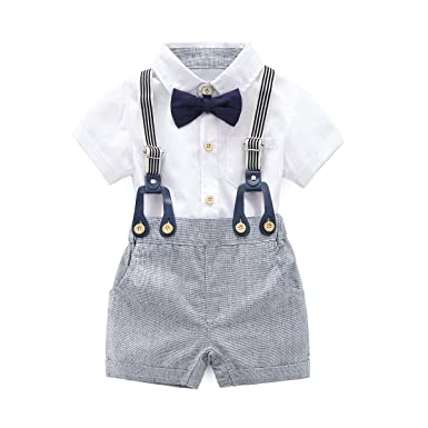 860a9f179 Amazon.com  KiKibaby Baby Boys Gentleman White Outfits Suits