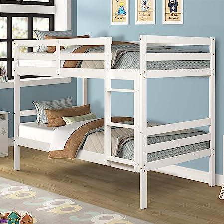 Litera doble Costzon, de madera maciza con cama individual para niños con escalera y barra de seguridad, literas de madera para dormitorio de niños, dormitorios, planas con listones, muebles de dormitorio: Amazon.es: